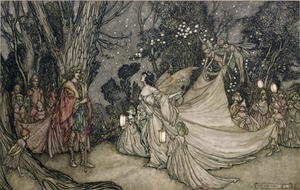 Famous paintings of Fairies: The Meeting of Oberon and Titania, 1905