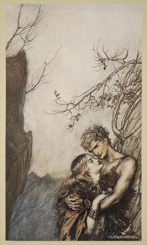 Reproduction oil paintings - Arthur Rackham - Brunnhilde throws herself into Siegfrieds arms, illustration from Siegfried and the Twilight of the Gods, 1924