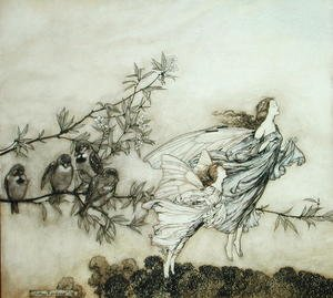 Famous paintings of Fairies: The Fairies have their Tiff with the Birds, 1906 illustration for 'Peter Pan in Kensington Gardens by J.M. Barrie, pub. 1906