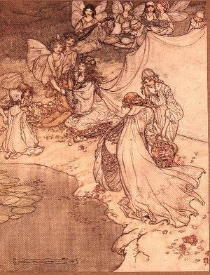 Famous paintings of Fairies: Illustration for a Fairy Tale, Fairy Queen Covering a Child with Blossom