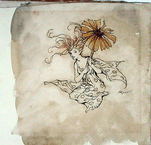 Famous paintings of Fairies: Daisy Fairy, illustration from Peter Pan in Kensington Gardens, by J.M. Barrie, published 1912