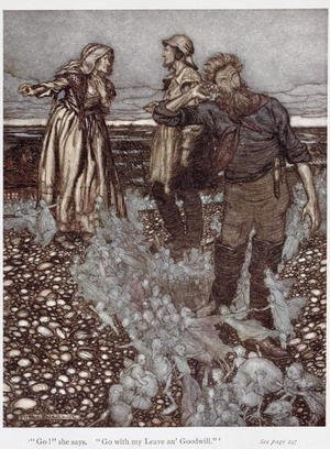Famous paintings of Fairies: The Widow Whitgift and her sons, from Puck of Pook Hill by Rudyard Kipling 1865-1936 1906