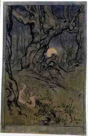 Famous paintings of Fairies: Moonlight Fairies in a Wood
