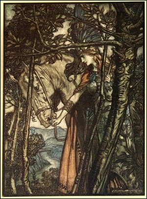 Reproduction oil paintings - Arthur Rackham - Brunnhilde slowly and silently leads her horse down the path to the cave, illustration from The Rhinegold and the Valkyrie, 1910