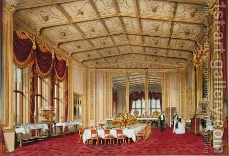 The Private Dining Room, Windsor Castle, from Windsor and its Surrounding Scenery, 1838 by James Baker Pyne - Reproduction Oil Painting