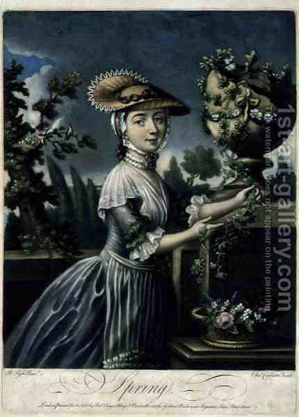 Spring, engraved by C. Corbutt Richard Purcell fl.1746-66, pub. by Robert Sayer, c.1760 by (after) Pyle, Robert - Reproduction Oil Painting