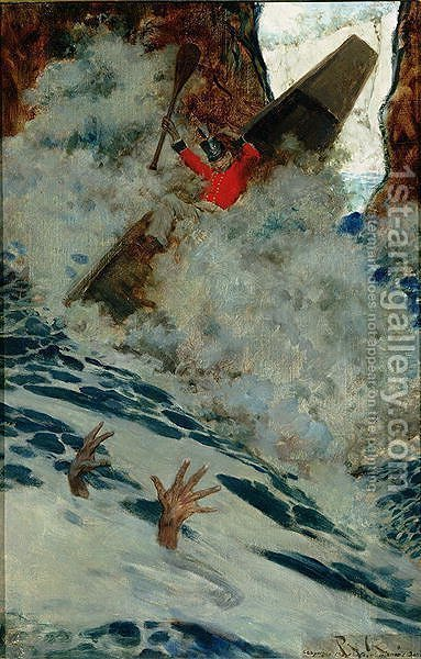 The Boat and I Went by him with a Rush, from Sinbad on Burrator, by Arthur Quiller-Couch 1863-1944, published in Scribners Magazine, August 1902 by Howard Pyle - Reproduction Oil Painting