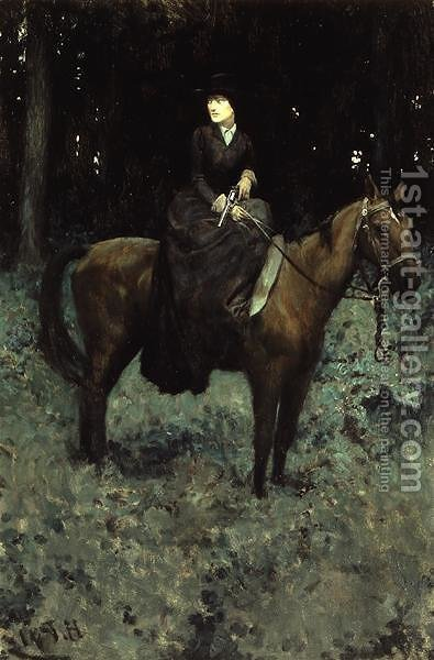She Drew Bridle, Listening - There was No Sound, from Special Messenger by Robert W. Chambers, published in Harpers Monthly Magazine, February 1905 by Howard Pyle - Reproduction Oil Painting