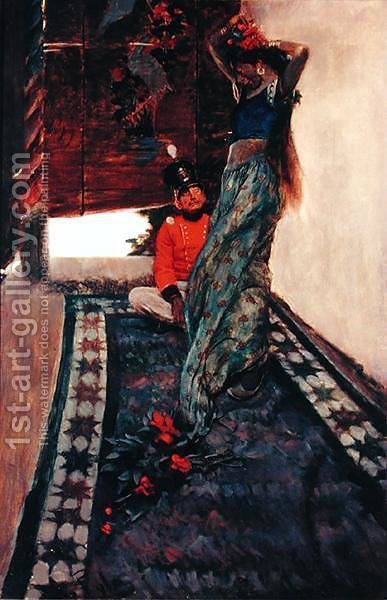 I Sat at her Feet While she Drilled the Island Language into Me, from Sinbad in Burrator, by Arthur Quiller-Couch 1863-1944, published in Scribners Magazine, August 1902 by Howard Pyle - Reproduction Oil Painting