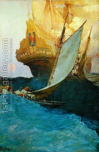 An Attack on a Galleon, from The Fate of Treasure Town by Howard Pyle, published in Harpers Monthly Magazine, 1905 by Howard Pyle - Reproduction Oil Painting