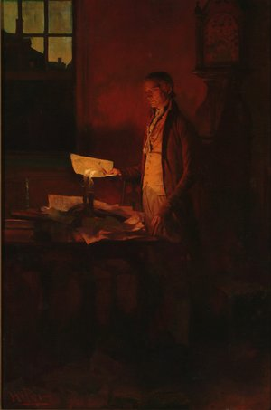 Thomas Jefferson Writing the Declaration of Independence, from The Story of the Revolution by Henry Cabot Lodge 1850-1924, published in Scribners Magazine, March 1898
