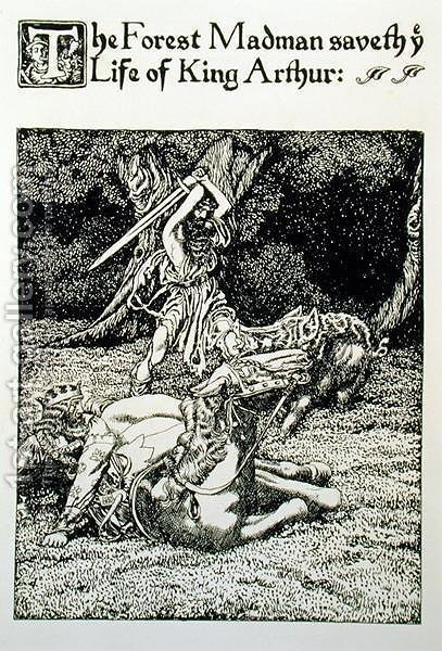 The Forest Madman saveth ye Life of King Arthur, from Sir Kay and the Forest Madman, 1905 by Howard Pyle - Reproduction Oil Painting