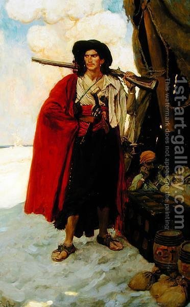 The Buccaneer Was a Picturesque Fellow, from The Fate of Treasure Town by Howard Pyle, published in Harpers Monthly Magazine, December 1905 by Howard Pyle - Reproduction Oil Painting