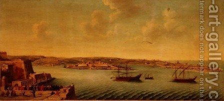 View of Valetta with Ships of the Order of the Knights of St. John by Alberto Pulicino - Reproduction Oil Painting