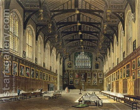 Interior of the Hall of Christ Church, illustration from the History of Oxford engraved by J. Bluck fl.1791-1831 pub. by R. Ackermann, 1814 by (after) Pugin, Augustus Charles - Reproduction Oil Painting