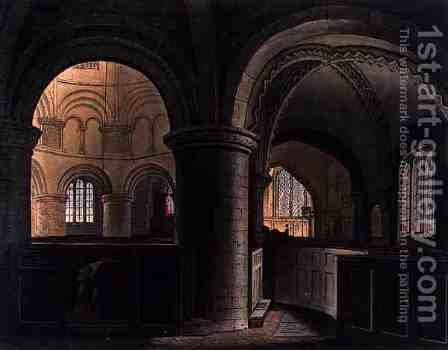 Interior of the Church of the Holy Sepulchre, Cambridge, from The History of Cambridge, engraved by J. Hill, pub. by R. Ackermann, 1815 by (after) Pugin, Augustus Charles - Reproduction Oil Painting