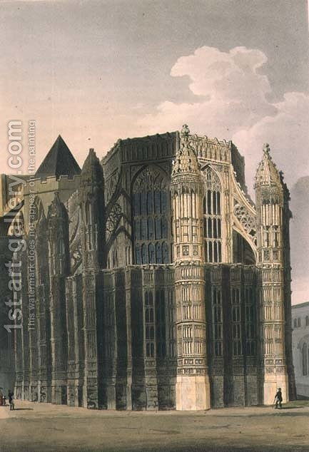 The Chapel of Henry VII showing Two Renovated Pinnacles, plate 4 from Westminster Abbey, engraved by J. Bluck fl.1791-1831 pub. by Rudolph Ackermann 1764-1834 1811 by (after) Pugin, Augustus Charles - Reproduction Oil Painting