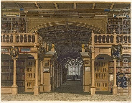 Interior of the Bodleian Library, illustration from the History of Oxford, engraved by Joseph Constantine Stadler fl.1780-1812 pub. by R. Ackermann, 1813 by (after) Pugin, Augustus Charles - Reproduction Oil Painting