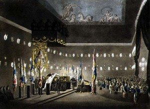 Academic Classicism painting reproductions: Remains of Lord Viscount Nelson Laying in State in the Painted Chamber at Greenwich Hospital, engraved by J. Merigot, pub. 1806