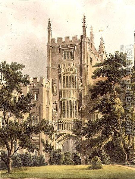 The Old Gate at Magdalen College, illustration from the History of Oxford Colleges, engraved by J. Bluck fl.1791-1831 pub. by R. Ackermann, 181 by (after) Pugin, Augustus Charles - Reproduction Oil Painting