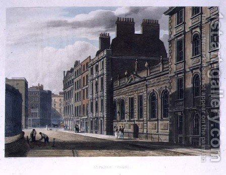 St. Pauls School, from History of St. Pauls School, part of History of the Colleges, engraved by Joseph Constantine Stadler fl.1780-1812 pub. by R. Ackermann, 1816 by (after) Pugin, Augustus Charles - Reproduction Oil Painting