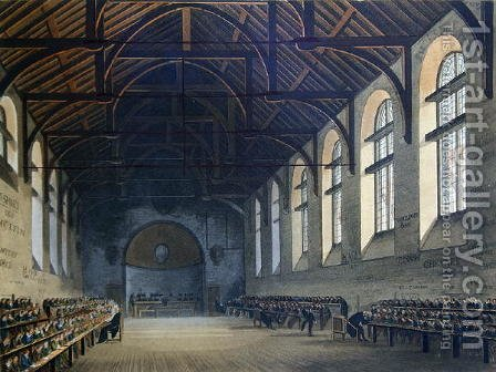 Westminster School Room, from History of Westminster School, part of History of the Colleges, engraved by Joseph Constantine Stadler fl.1780-1812 pub. by R. Ackermann, 1816 by (after) Pugin, Augustus Charles - Reproduction Oil Painting
