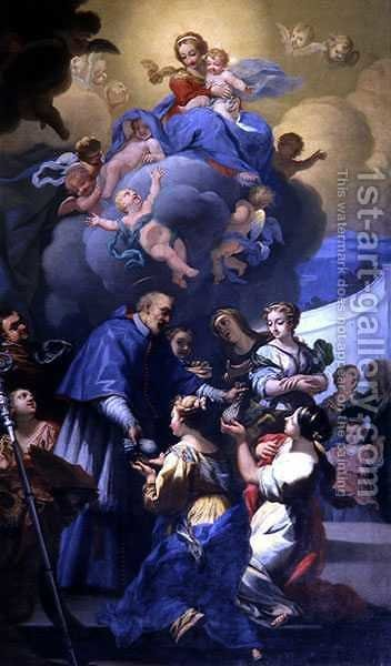 St. Nicholas Distributes his Three Bags of Gold, c.1705 by Giovanni Antonio Pucci - Reproduction Oil Painting
