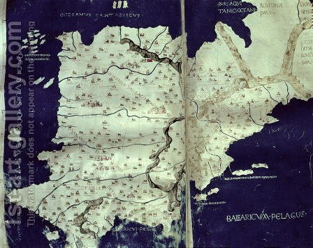 Map of Spain, from Cosmography, c.1456 by (after) Ptolomeus, Claudio - Reproduction Oil Painting