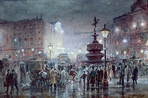 Famous paintings of Squares and Piazzas: Piccadilly Circus at Night, 1911