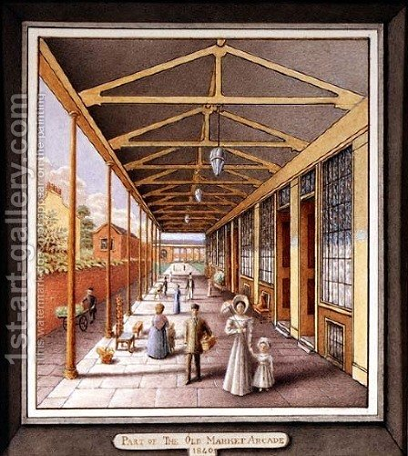 Part of the Old Market Arcade, 1840 by J.A. Probert - Reproduction Oil Painting