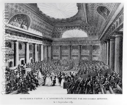 Offerings Made to the National Assembly in the Salle des Menus-Plaisirs by Women Artists, 7th September 1789, engraved by Pierre Gabriel Berthault 1737-1831 by (after) Prieur, Jean Louis, II - Reproduction Oil Painting