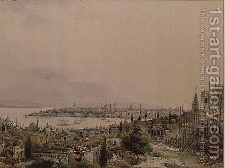 View of Constantinople from Pera by Amadeo Preziosi - Reproduction Oil Painting