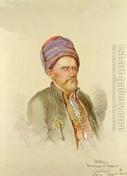 Mustapha - Moslem from Batum, c.1852 by Amadeo Preziosi - Reproduction Oil Painting