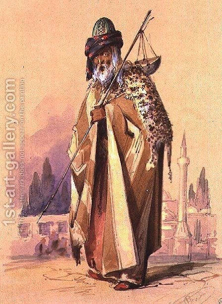 A Dervish with leopard skin, c.1855 by Amadeo Preziosi - Reproduction Oil Painting