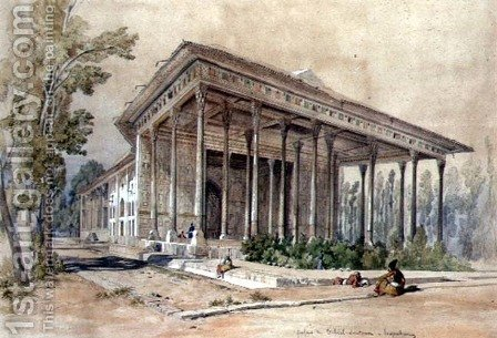 The Palace of Tcheel-Soutoun, Hispahan by Amadeo Preziosi - Reproduction Oil Painting