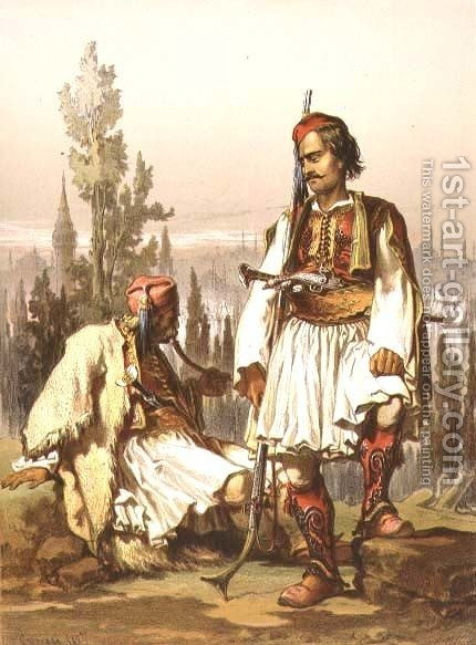 Albanians, mercenaries in the Ottoman army, pub. by Lemercier, 1857 by Amadeo Preziosi - Reproduction Oil Painting