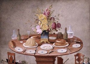 Famous paintings of Desserts: Still Life with a Vase of Flowers on a Table Set for a Meal, c.1810