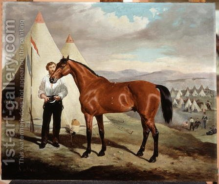 Sir Briggs, horse of Lord Tredegar 1831-1913 of the 17th Lancers, in Camp in Crimea 1854, 1856 by Alfred F. De Prades - Reproduction Oil Painting