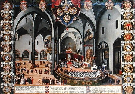 Organ door depicting the Council of Aquileia in 1596 at Udine by (after) Pozzerrato, Lodovico - Reproduction Oil Painting