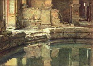 Famous paintings of Pools: The Roman Circular Bath at Bath