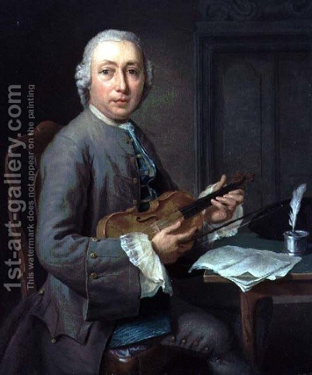 Man with a violin by Hendrik Pothoven - Reproduction Oil Painting