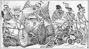 Famous paintings of Bicycling: 20th century Calavera