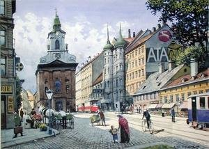 Famous paintings of Trams: The Church of the Chimneysweeps, Wiedner Hauptstrasse, Vienna