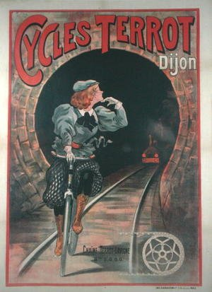 Famous paintings of Bicycling: Poster advertising the Terrot Cycles, in Dijon, 1900-01