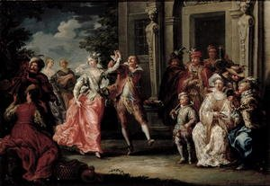 Rococo painting reproductions: Figures Dancing Outside a Palace