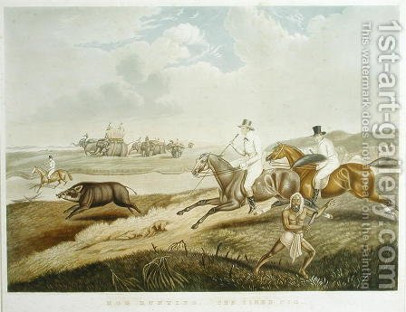 Hog Hunting The Tired Pig, engraved by S.W. Fores 1785-1825 c.1840 by (after) Platt, Captain John - Reproduction Oil Painting