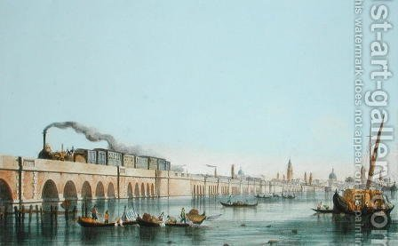 Bridge over the Lagoon, from Views of Principal monuments in Venice, published c.1850 by (after) Pividor, Giovanni - Reproduction Oil Painting