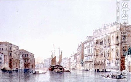 The Grand Canal and the Ca dOro, Venice, engraved by Lefevre by (after) Pividor, Giovanni - Reproduction Oil Painting