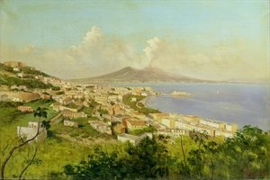 Famous paintings of Volcanoes: View of the Bay of Naples