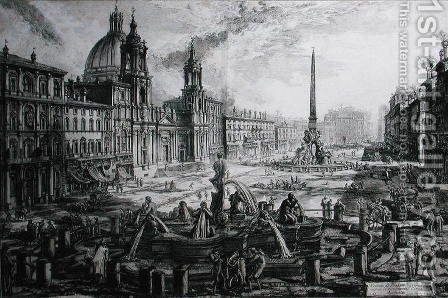 The Piazza Navona, from Le Antichita Romane de G.B. Piranesi 1756, published Paris 1835 by Giovanni Battista Piranesi - Reproduction Oil Painting